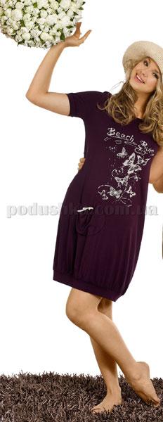 Ночная сорочка Вайде 1349К (темный баклажан с бабочками)