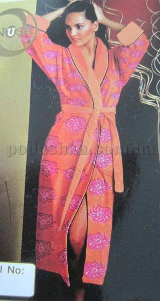 Халат женский велюровый короткий с капюшоном Nusa NS-4130