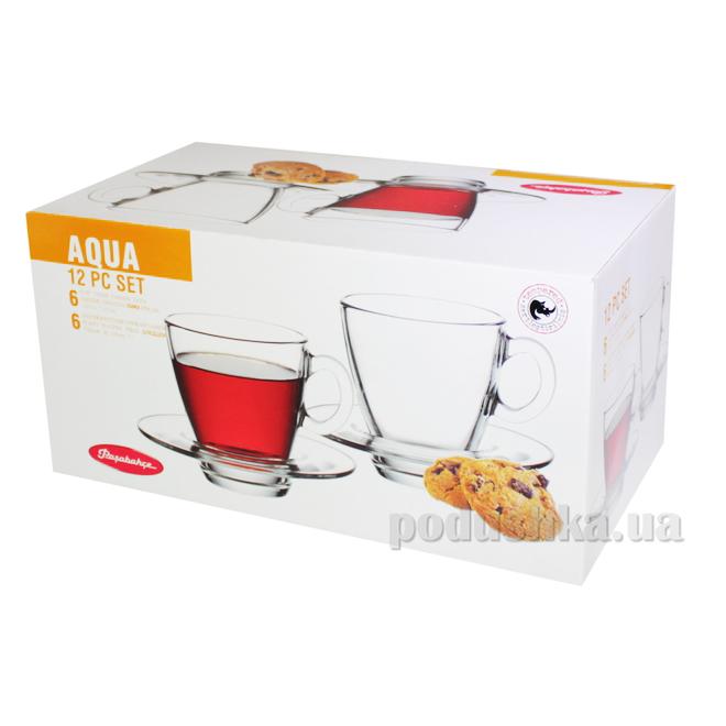 Набор чашек и блюдец для чая Pasabahce Aqua 95040   Pasabahce