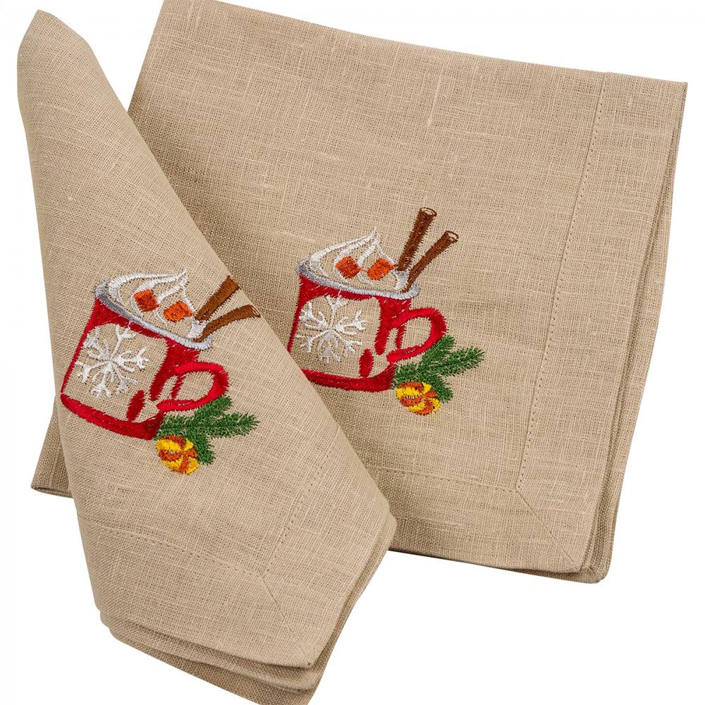 Салфетка льняная Вкус Рождества Гармония молочный