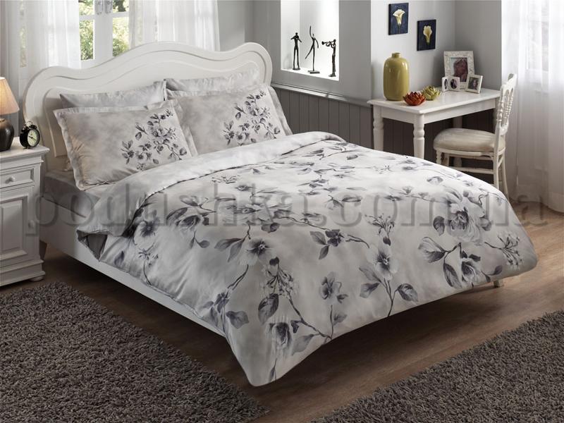 Постельное белье TAC Satin Magnolia серый