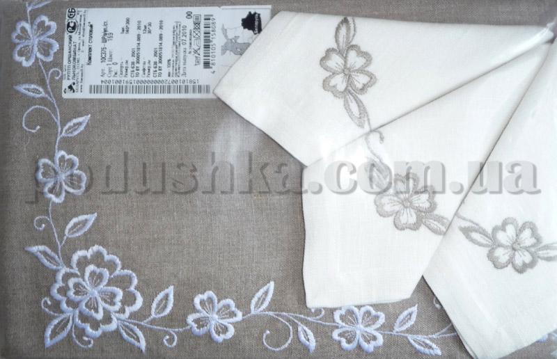 Льняная скатерть с салфетками 10С375