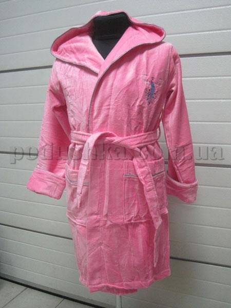 Халат женский велюровый короткий с капюшоном Nusa NS-3075