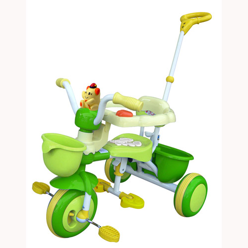 Велосипед трехколесный с игрушкой (зеленый)