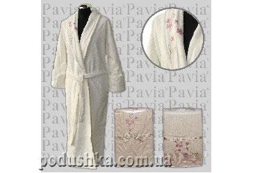 Набор женский халат+полотенца Pavia, с вышивкой