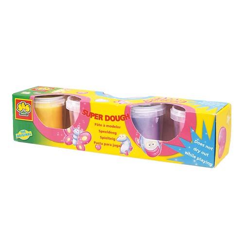 Незасыхающая масса для лепки с блестками - Фантазия (4 цвета, упаковка - пластиковые баночки)