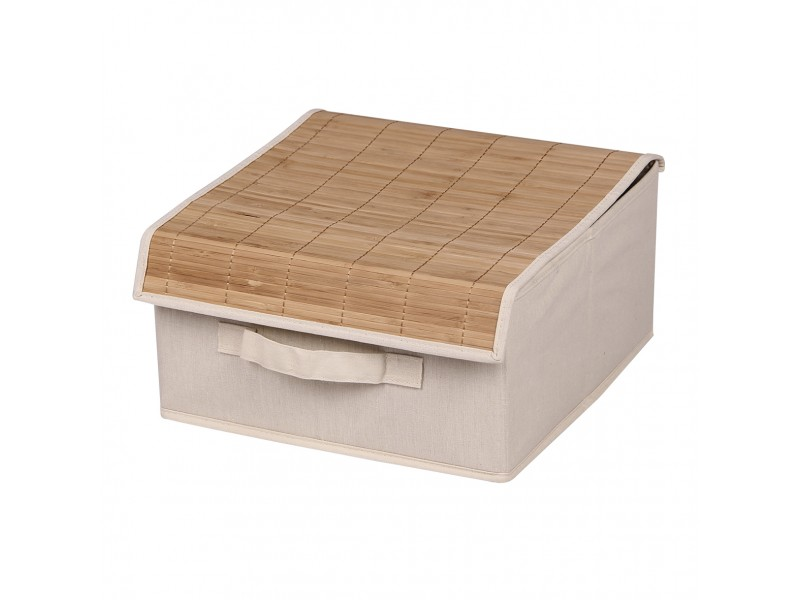 Коробка для хранения вещей с бамбуковой крышкой МД 30х30х16 см UC10201 бежевая