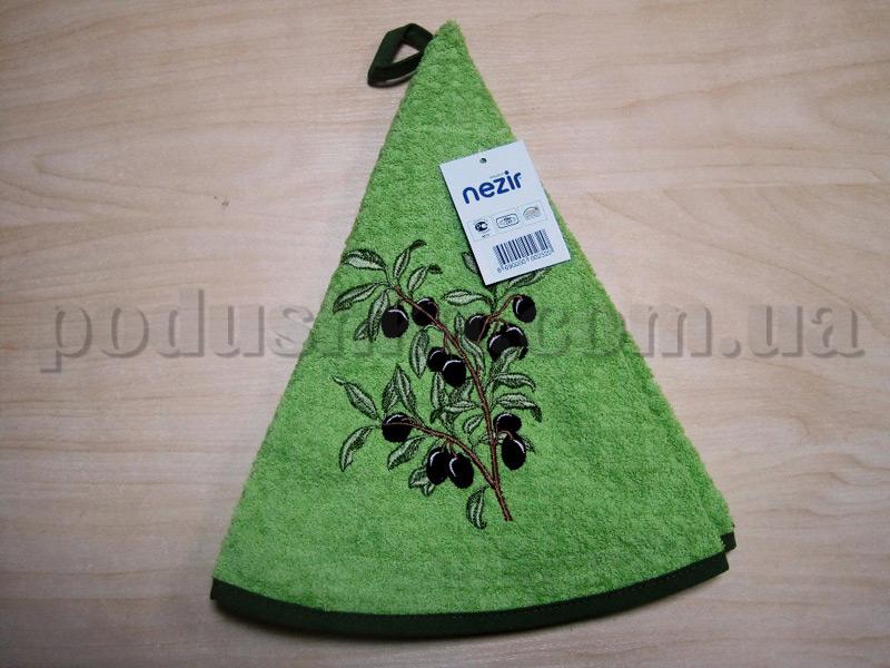 Полотенце махровое кухонное круглое Mariposa Маслины ветка зеленое