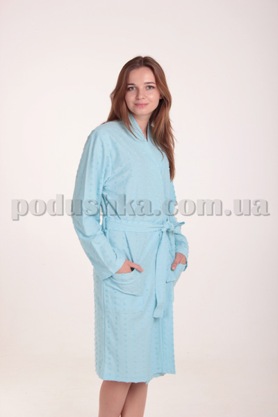 Халат женский трикотажный MELISA голубой с длинным рукавом XL  Diandra