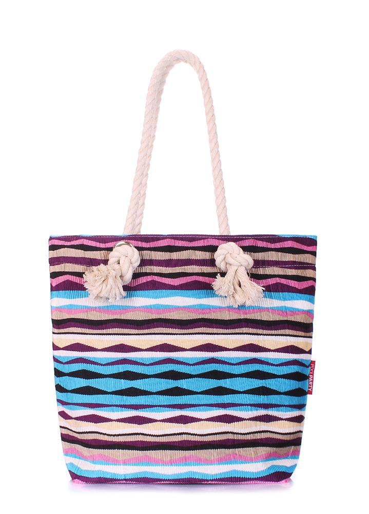 Пляжная вельветовая сумка в полоску Poolparty Anchor rasta blue