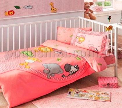 Постельное белье TAC Bebec Zooland розовый
