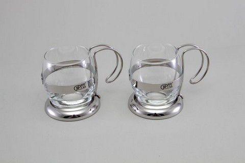 Набор из двух стеклянных чайных кружек (нерж. сталь) 8580