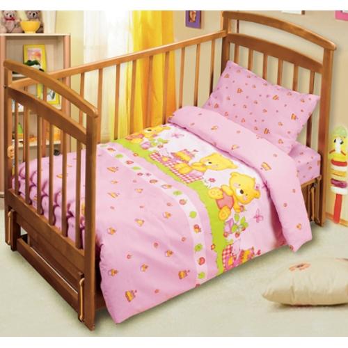 Постельное белье в кроватку Мишутки (розовый)