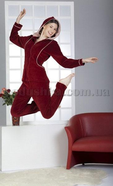 Домашний костюм женский велюровый с капюшоном Nusa NS-884