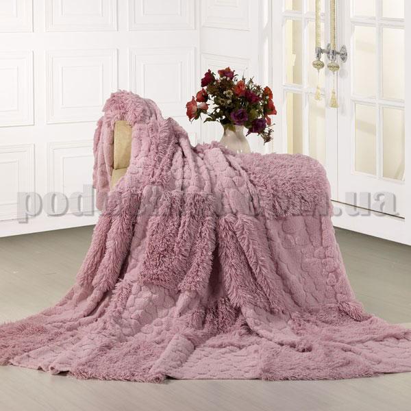 Покрывало меховое Love you Розовые квадраты