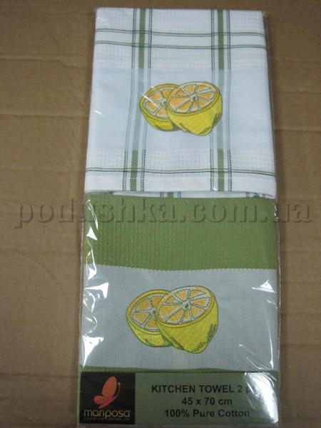 Набор вафельных кухонных полотенец Mariposa Лимон зеленый