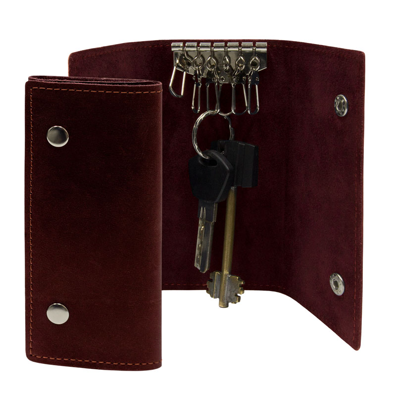 Ключница из натуральной кожи BermuD 6,5х13,5 см на 6 ключей Br 10-18-03 бордо