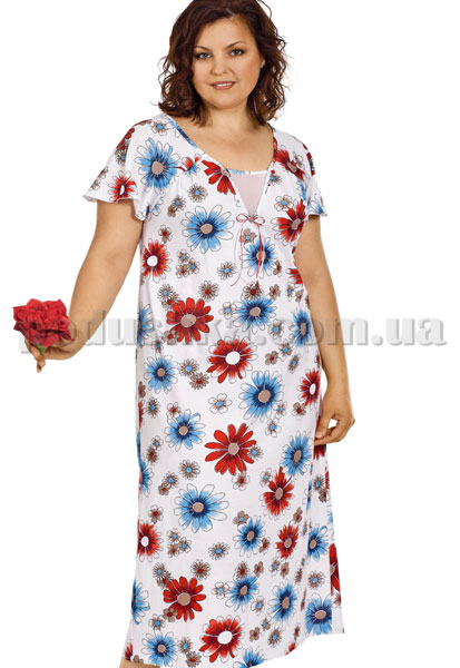 Ночная сорочка Вайде 1374Р (красные и синие ромашки)