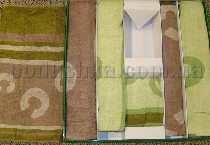 Набор бамбуковых полотенец Le Vele из 6 штук зеленые и коричневые абстракция