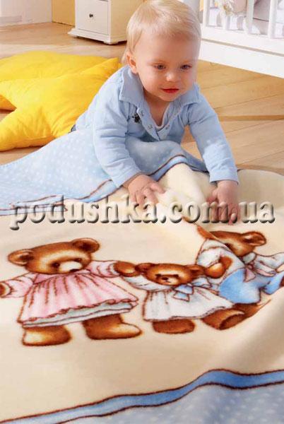 Плед детский Медвежата на голубом (de luxe kids)