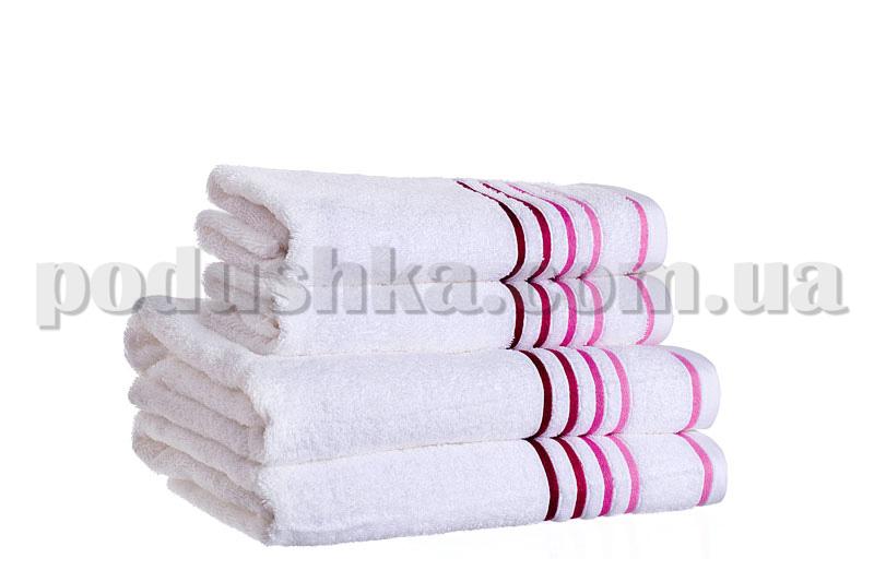 Полотенце махровое SPRING белый/малиновый