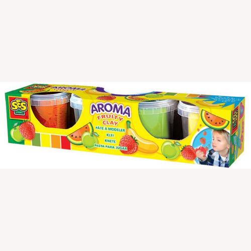 Незасыхающая масса для лепки - Фруктовый аромат 4 цвета, в пластиковых баночках