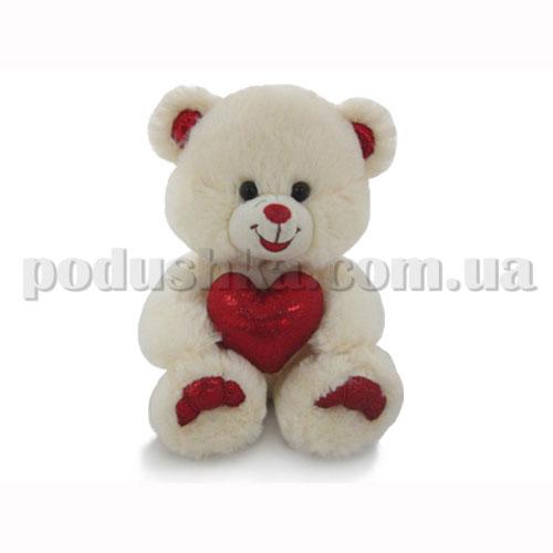 Мягкая игрушка - Медвель бежевый с сердцем