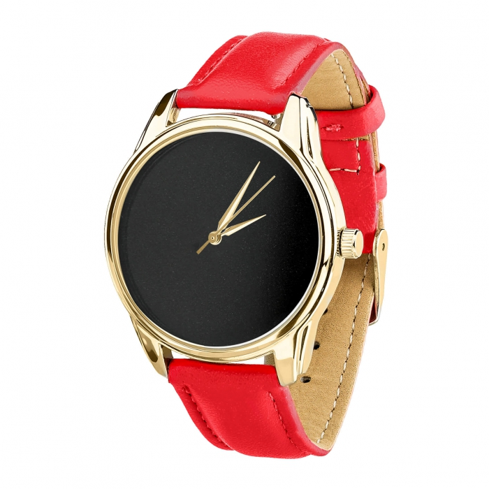 Часы ZIZ Минимализм черный маково-красный, золото - второй ремешок в подарок 4600476