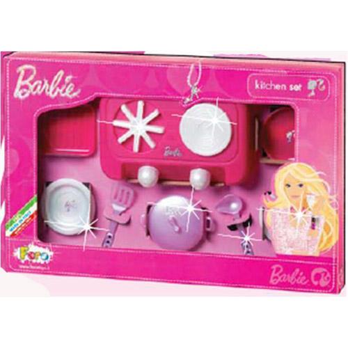 Набор посуды - Барби Кухня (8 предметов, с печью)
