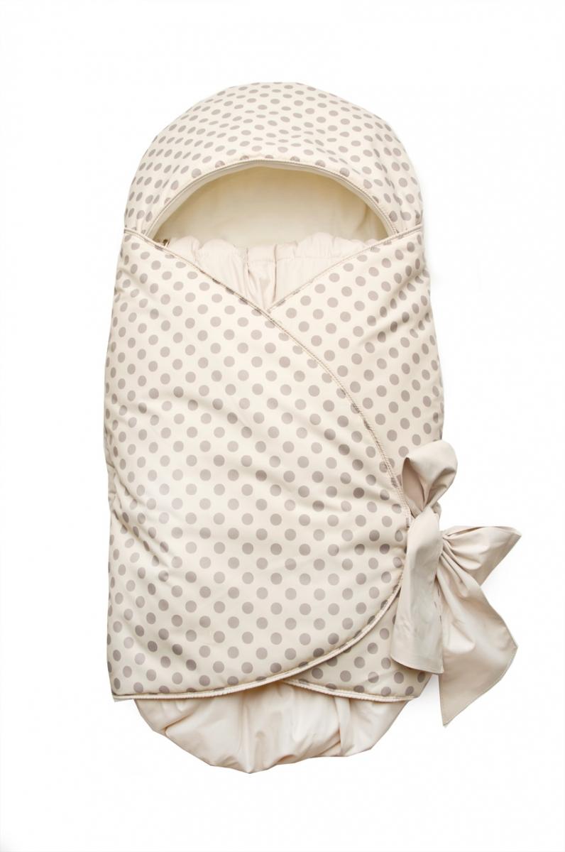 Конверт на выписку для новорожденных, подходит для автокресла 03-00643 Модный карапуз Бежевый горох