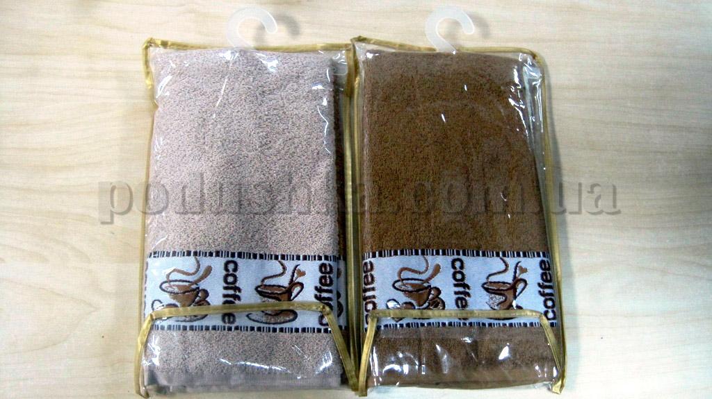 Набор махровых кухонных полотенец Hanibaba Кофе бежевое и кофейное