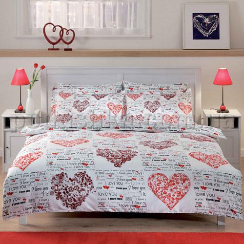 Постельное белье TAC Love hearts красный