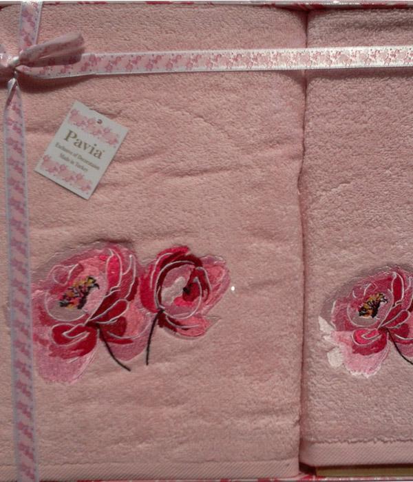 Набор махровых полотенец Pavia ROSE PINK (50х90, 70х140) микрокоттон с вышивкой