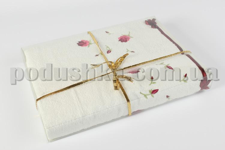 Махровое полотенце Руно белое с вышивкой Розы