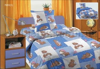 Постельное белье в кроватку Мишка голубой (с1004_72311)