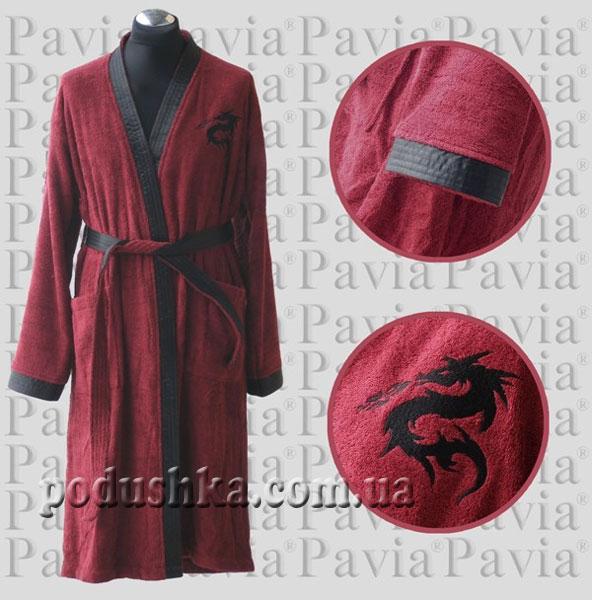 Халат махровый мужской Pavia бордовый (кимоно)