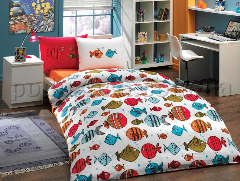 Постельное белье Hobby Fish оранжевый