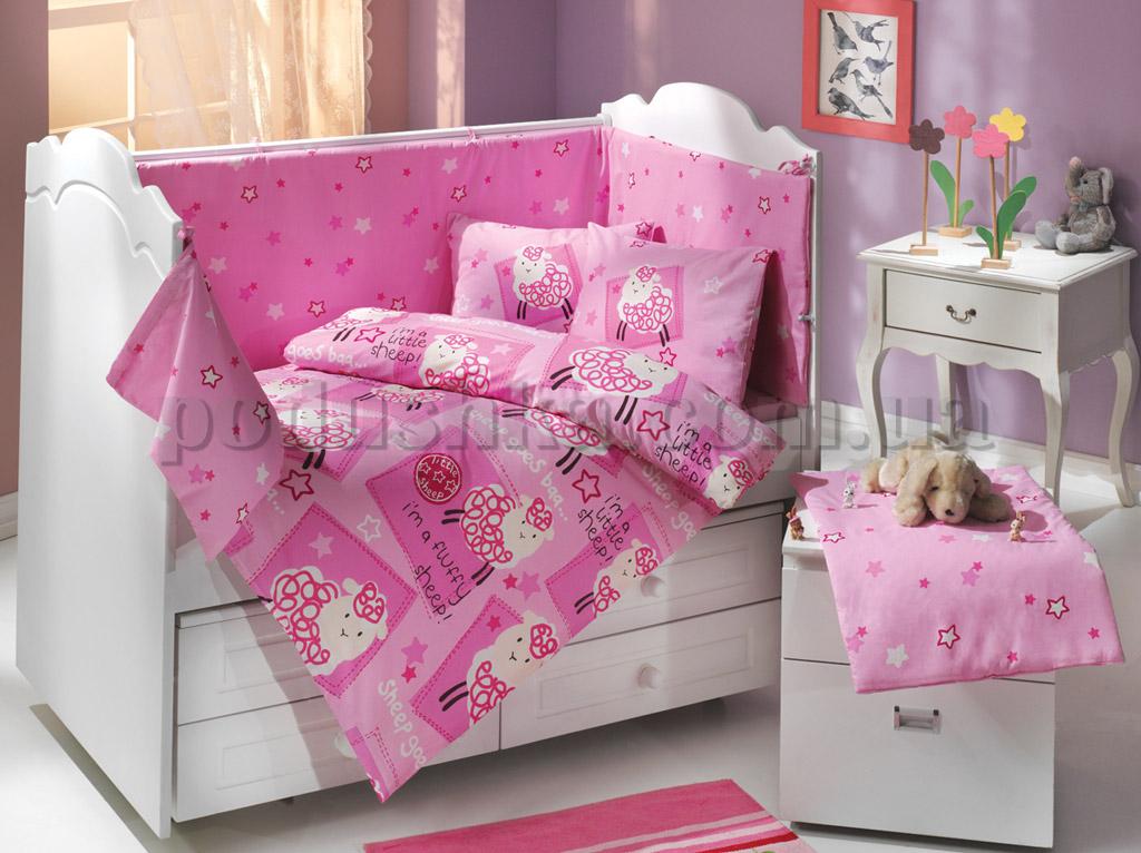 Набор в кроватку для новорожденных Hobby Little Sheep розовый 10 предметов сатин