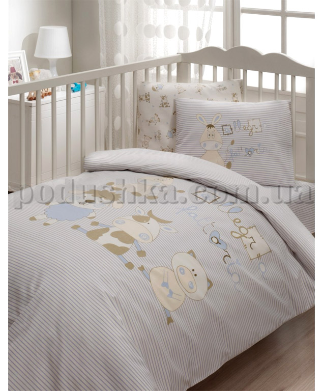 Спальный комплект в кроватку Karaca Jolly голубой - 7 предметов