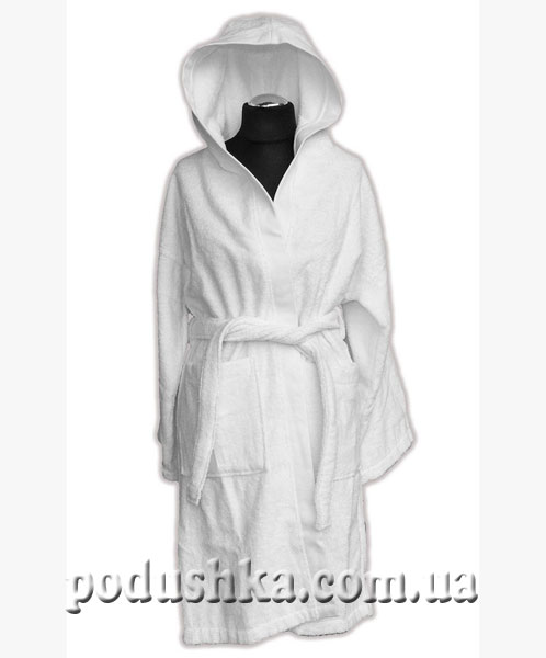 Халат белый с капюшоном