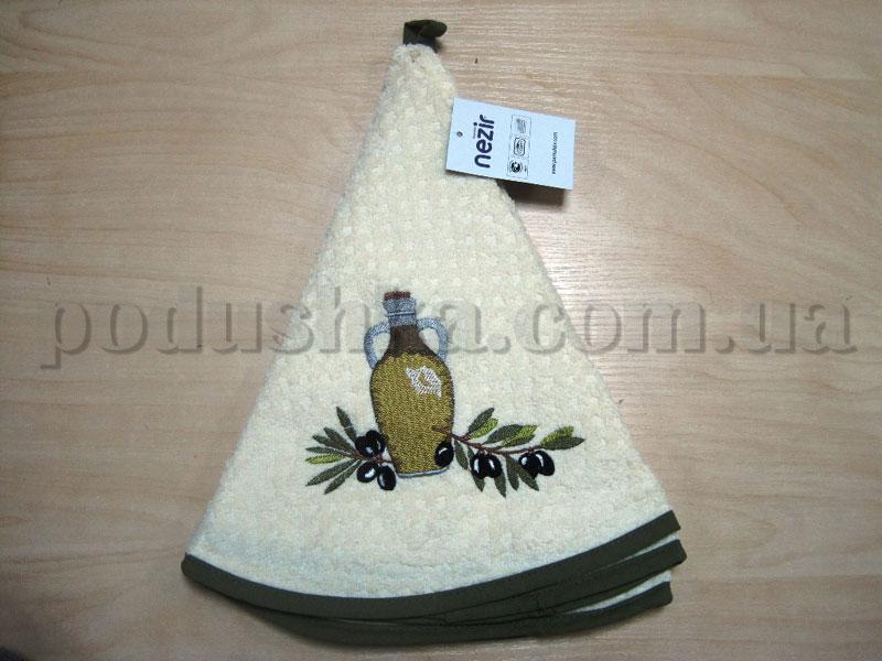Полотенце махровое кухонное круглое Mariposa Маслины кремовое