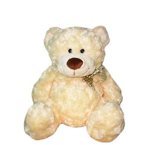 Мягкая игрушка - Медведь белый, с бантом, 33 см