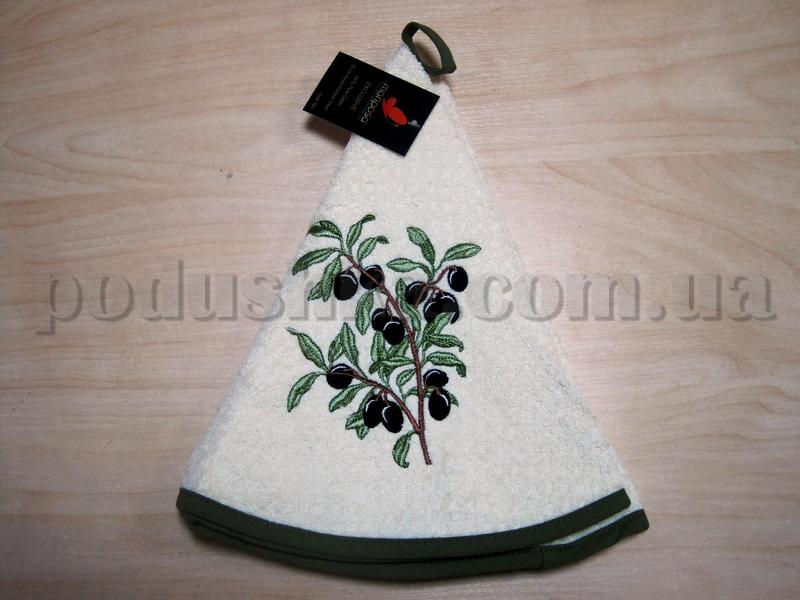 Полотенце махровое кухонное круглое Mariposa Маслины ветка кремовое