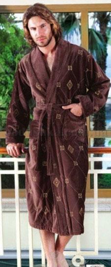 Халат мужской длинный велюровый с вышивкой Nusa NS-11330