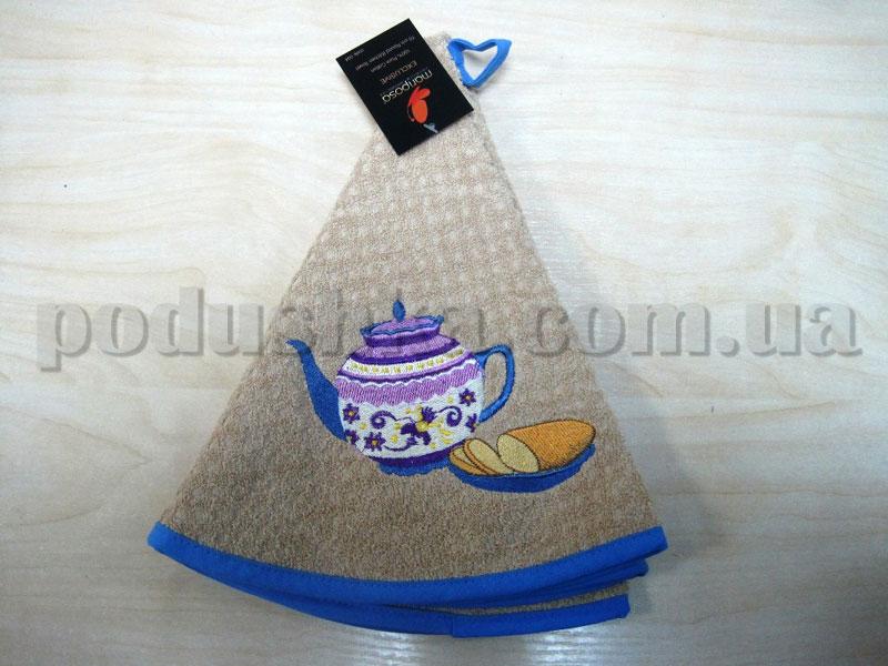 Полотенце махровое кухонное круглое Mariposa Чайник бежевое