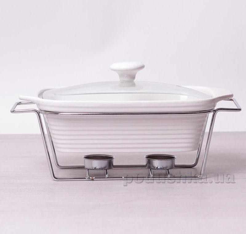 Мармит керамический Kamille AM-6402 прямоугольный 28см 1,4л со стеклянной крышкой на подставке   Kamille