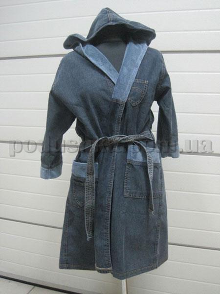 Халат женский джинсовый с капюшоном Nusa NS-750