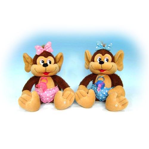 Мягкая игрушка - Мартышка с пустышкой музыкальная, 24 см