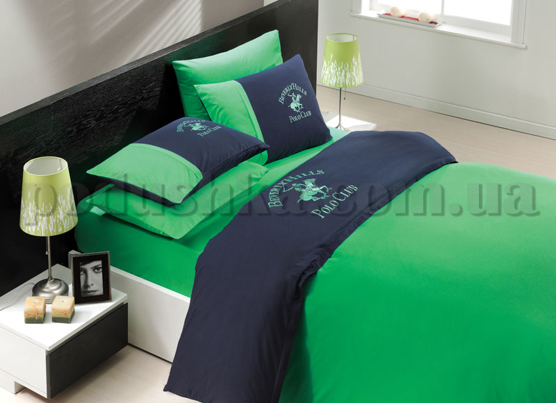 Постельное белье BHPC 101 сине-зеленый сатин с вышивкой