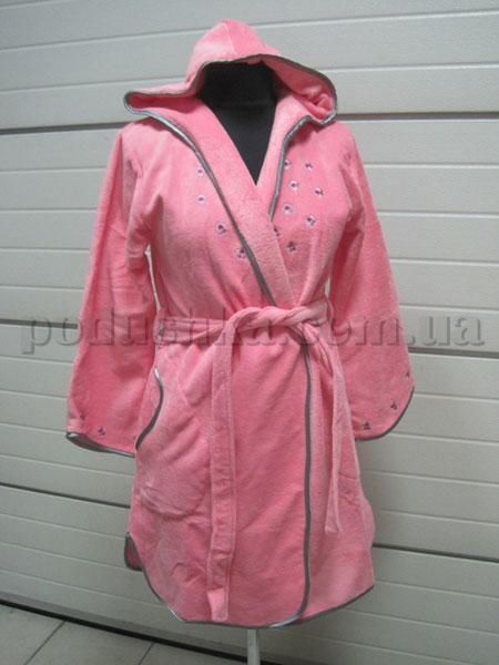 Халат женский велюровый короткий с капюшоном Nusa NS-3150